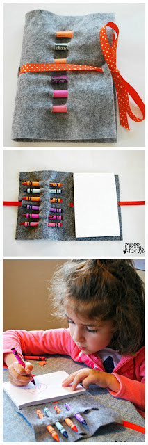 Crayon Roll - Kids Art Kit. This is great kit to take with you on the go. Your child can color while waiting at a restaurant or doctor's office.