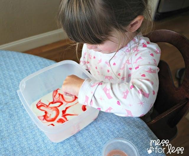 Food coloring in milk