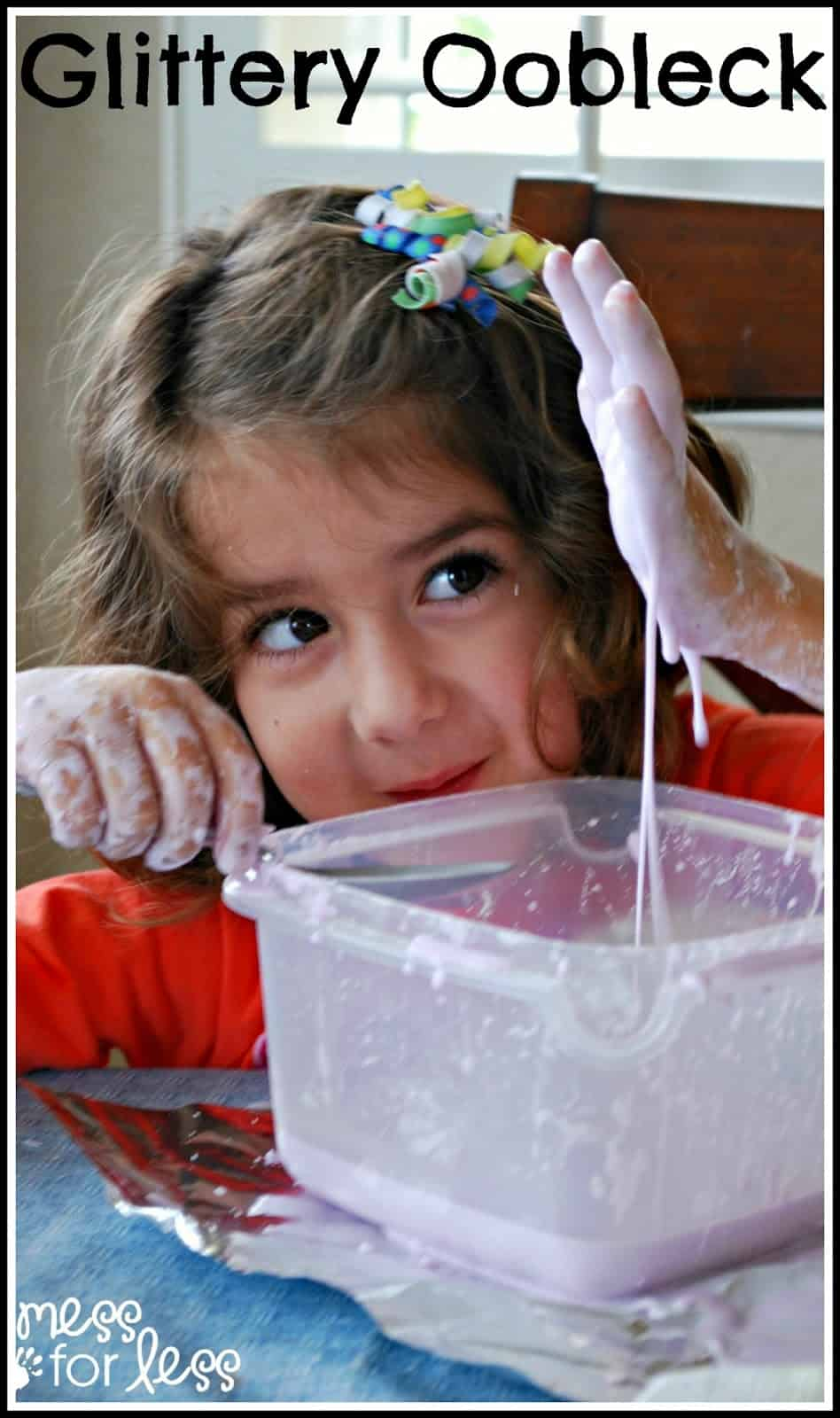 Glitter Oobleck Recipe  A Few Simple Ingredients Needed To Make This Fun  Slime That Kids