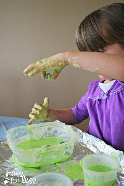 Sensory play with oobleck