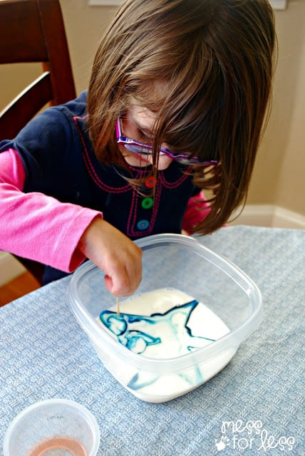 mixing food coloring and milk