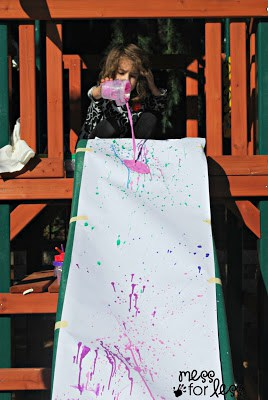 pour painting on a slide