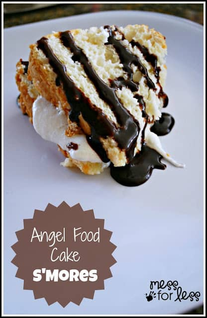 S'Mores angel food cake is our new favorite dessert. You won't believe how EASY this is to make or how much your guests will beg for more!