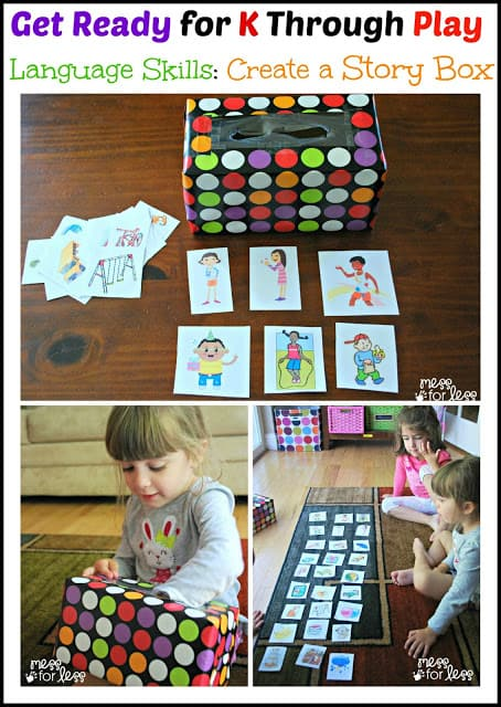 Get Ready for K Through Play - an 8 week series from some amazing kid bloggers that will help your child to get prepared for Kindergarten. In week 1 we focus on Language Skills through the use of a story box and some FREE printables.