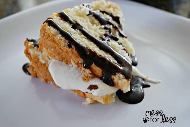 S'mores angel food cake - easiest dessert ever!