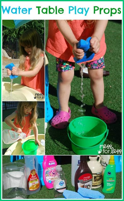 Water Table Play Props - Just a few items you have at home can bring new life and excitement to a water table.