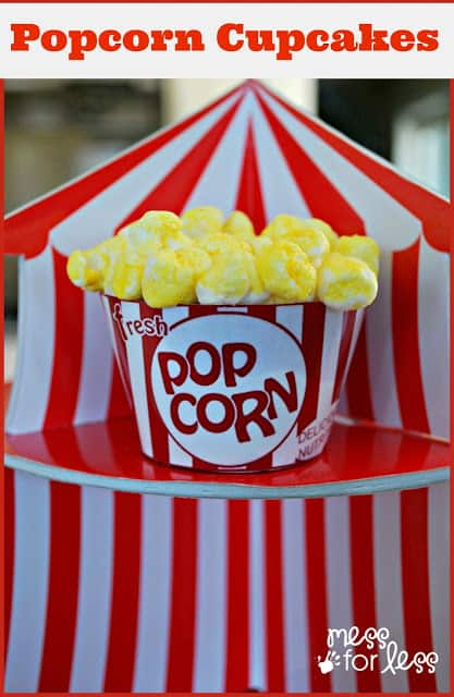 Popcorn cupcakes are easy to make a perfect for a circus themed party or movie night.