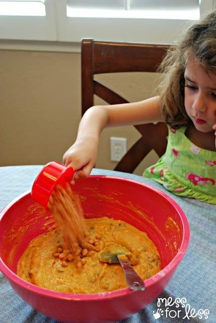 making butterscotch pumpkin muffins
