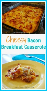 Breakfast Casserole Recipe - Cheese, bacon, potatoes and eggs. So yummy and can be made the night before! #recipe, #breakfast