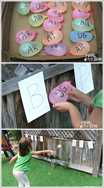 Stay cool and learn at the same time with water balloon phonics