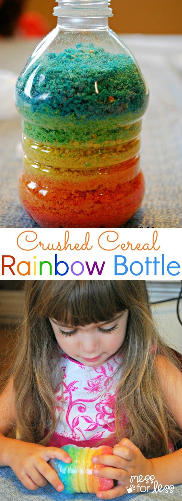 Crushed cereal rainbow bottle mess for less crushed cereal rainbow bottle we crushed fruity pebbles to make some sand for ccuart Images