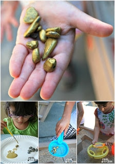 Panning for Gold Activity - Paint rocks gold and add them to the sand table for some play time fun!