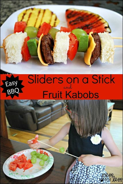 Sliders on a Stick and Fruit Kabobs - because everything tastes better on a stick, even burgers #shop