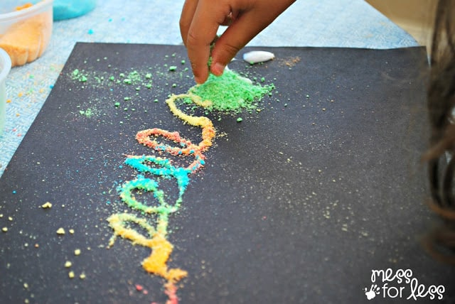 Making scented art with crushed cereal