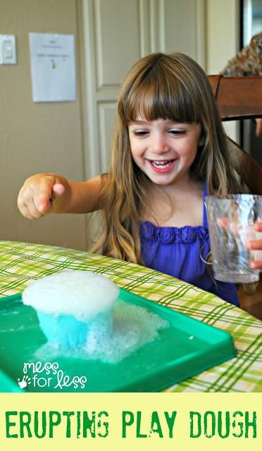 Erupting Play Dough - A baking soda based play dough that erupts when kids add vinegar. What a fun way to teach science!