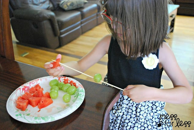 Making fruit kabobs with Fresh Finds from Lucky #shop