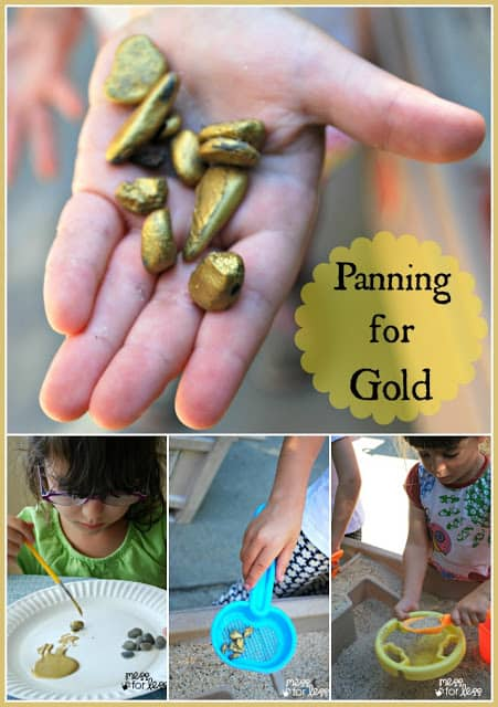 """Panning for Gold - Kids collect rocks and paint them hide them in sand and use sifters to """"pan for gold"""""""