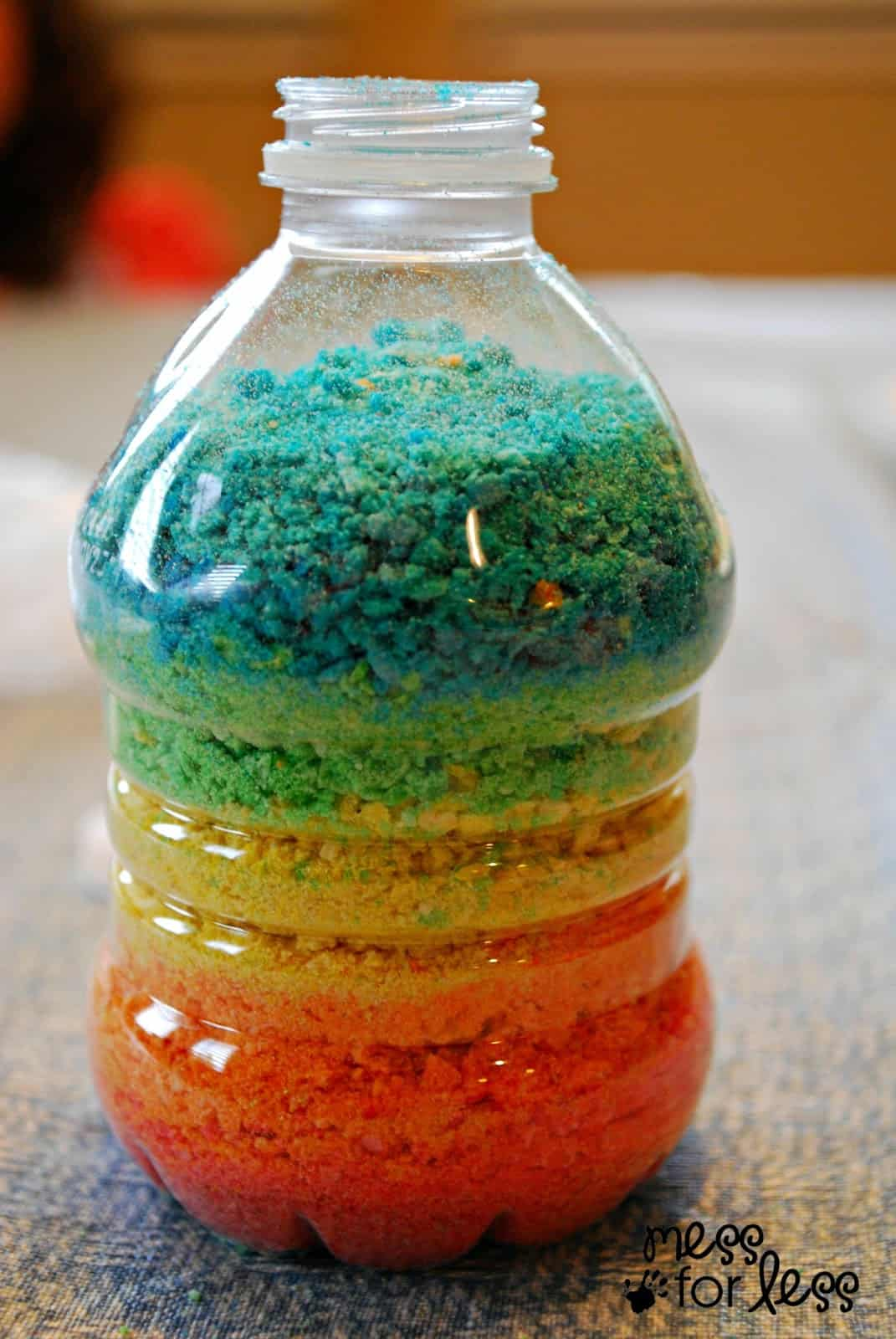 crushed cereal rainbow bottle mess for less. Black Bedroom Furniture Sets. Home Design Ideas