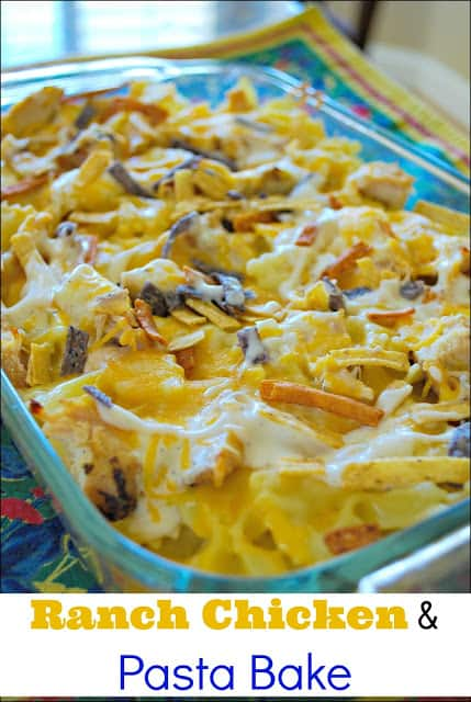 #ad Ranch Chicken and Pasta Bake - the perfect easy family meal. The cheesy chicken and ranch flavor make this a winner!