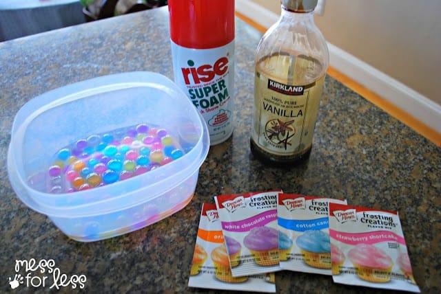 water bead and shaving cream fun