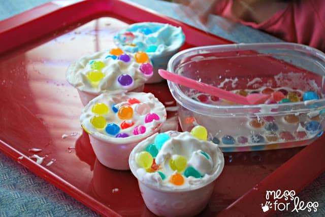 water beads and shaving cream