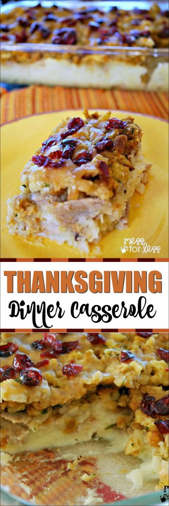 Thanksgiving Dinner Casserole - This turkey and stuffing casserole combines your favorite Thanksgiving flavors in an easy dish.