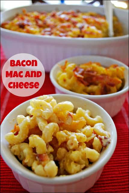 The evaporated milk makes this Bacon Mac and Cheese so creamy. #shop