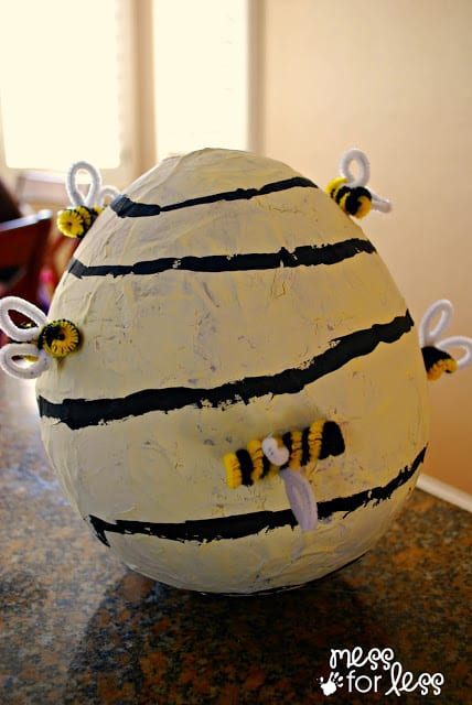 Paper mache bee hive