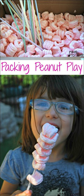 Packing Peanut Play - Packing peanuts make a great frugal play material. Kids can explore them and use them with different materials for fun and play.
