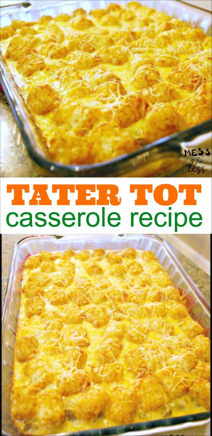 Tater Tot Casserole - simple to make. I prepared it the night before and just popped it in the oven in the morning. Delicious, warm and CHEESY!