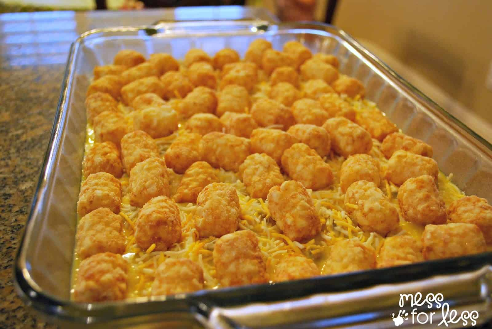 Tater tot casserole food fun friday mess for less tater tot casserole dish forumfinder Image collections