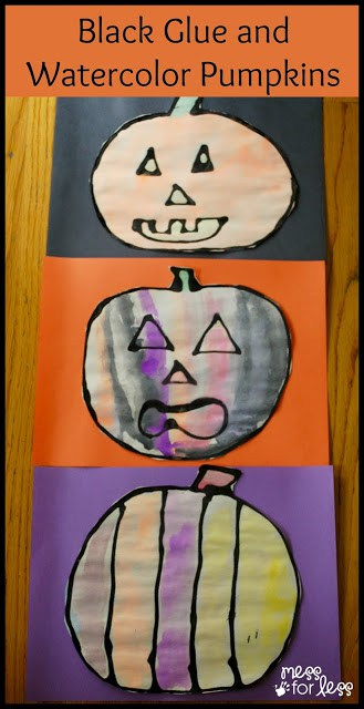 Black Glue and Watercolor Pumpkins - Mix black paint with white glue to make these Halloween crafts for kids