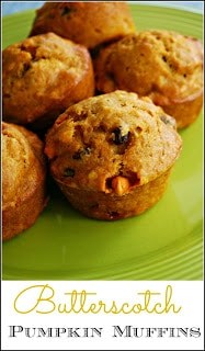 Butterscotch Pumpkin Muffin Recipe - The addition of gooey butterscotch makes these pumpkin muffins extra special!