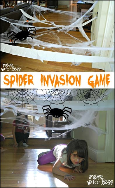 Spider Invasion Game - See how I set up a fun Halloween themed word game with items from the Dollar Store. The kids had a blast creeping like spiders. #ValueSeekersClub #sponsored