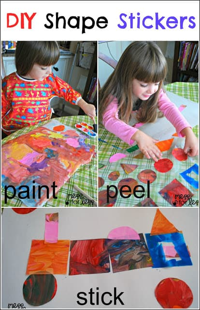 DIY Shape Stickers - Such an easy way to create stickers using paint and contact paper. You can then arrange the stickers on a piece of paper to create art.