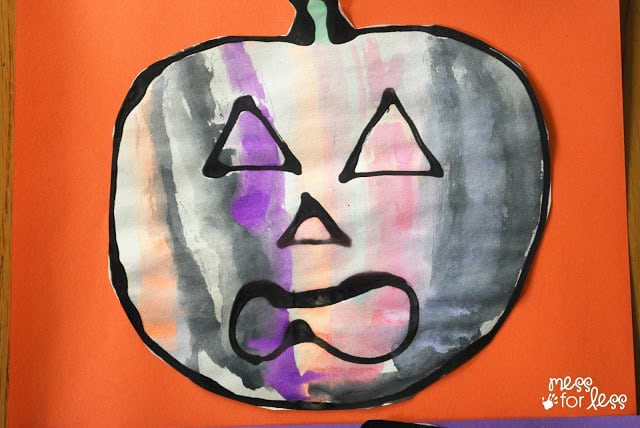 black glue watercolor pumpkin
