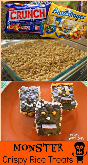 Kids can help create these yummy Monster Crispy Rice Treats which can be decorated with yummy candies. #shop #TrickUrTreat #cbias