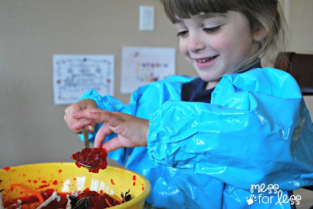 messy play with jell-o