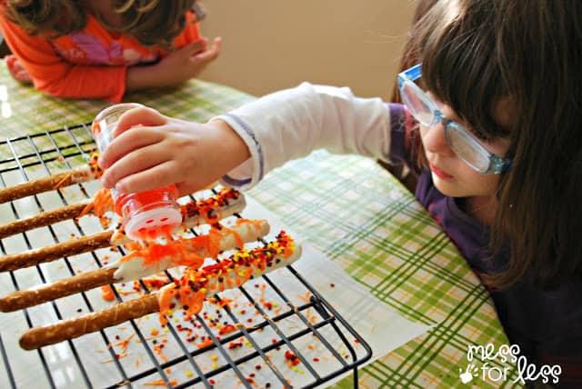 decorating pretzels