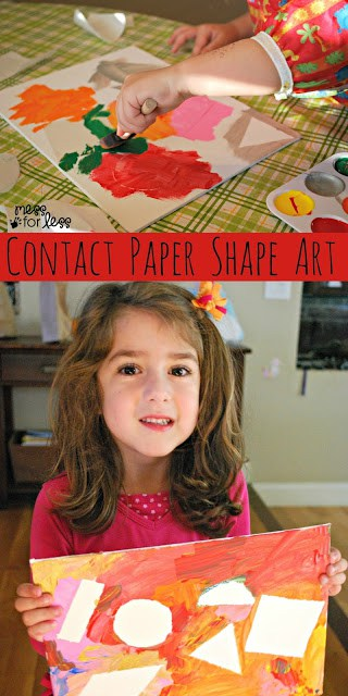 Contact Paper Shape Art - Using contact paper, canvas and paint, kids can create this one of a kind art work and learn about shapes at the same time.
