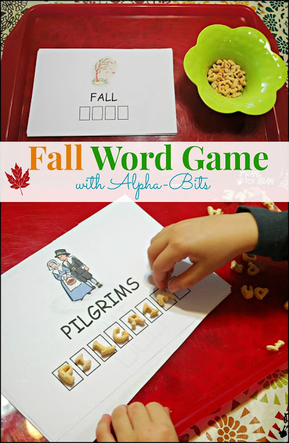 Fall Word Game - This word game is perfect for kids to play on Thanksgiving. Helps with word and letter recognition. #Alphabits