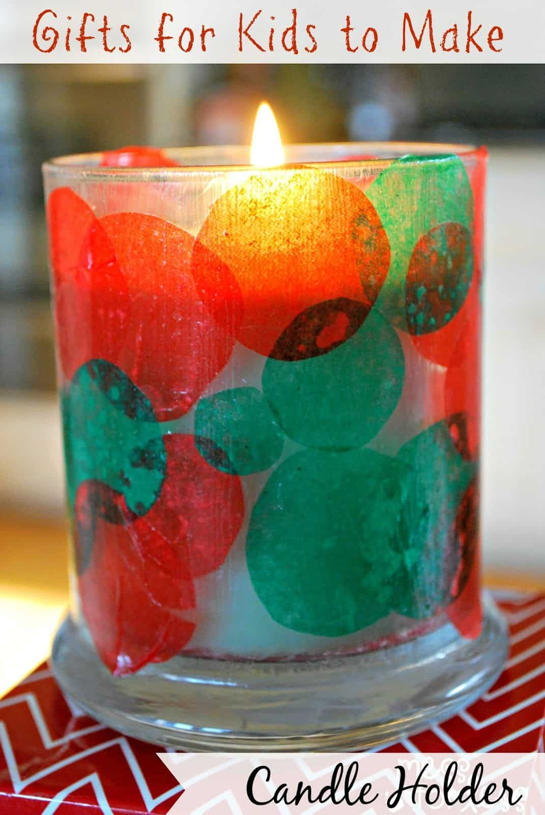 Kids christmas craft candle holder mess for less for How to make christmas crafts for gifts