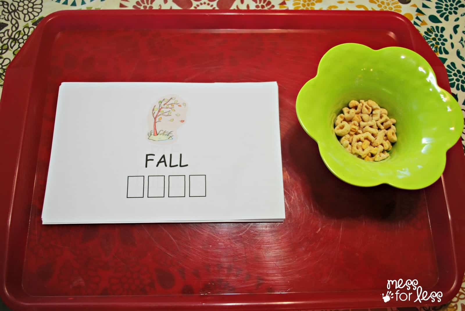 fall word game mess for less
