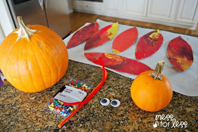 making a pumpkin turkey