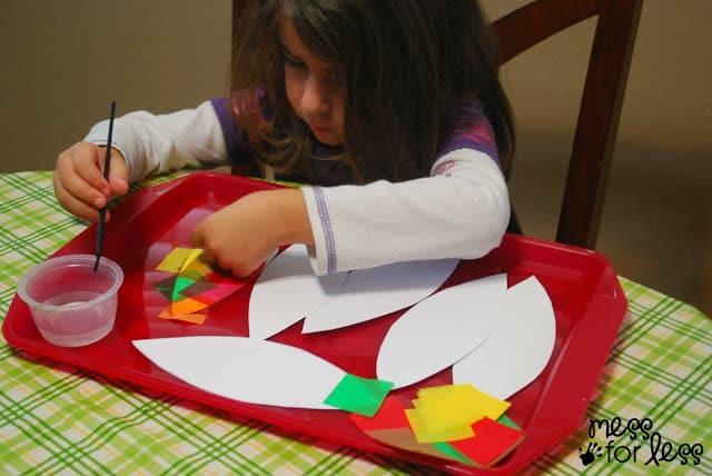 making a tissue paper turkey