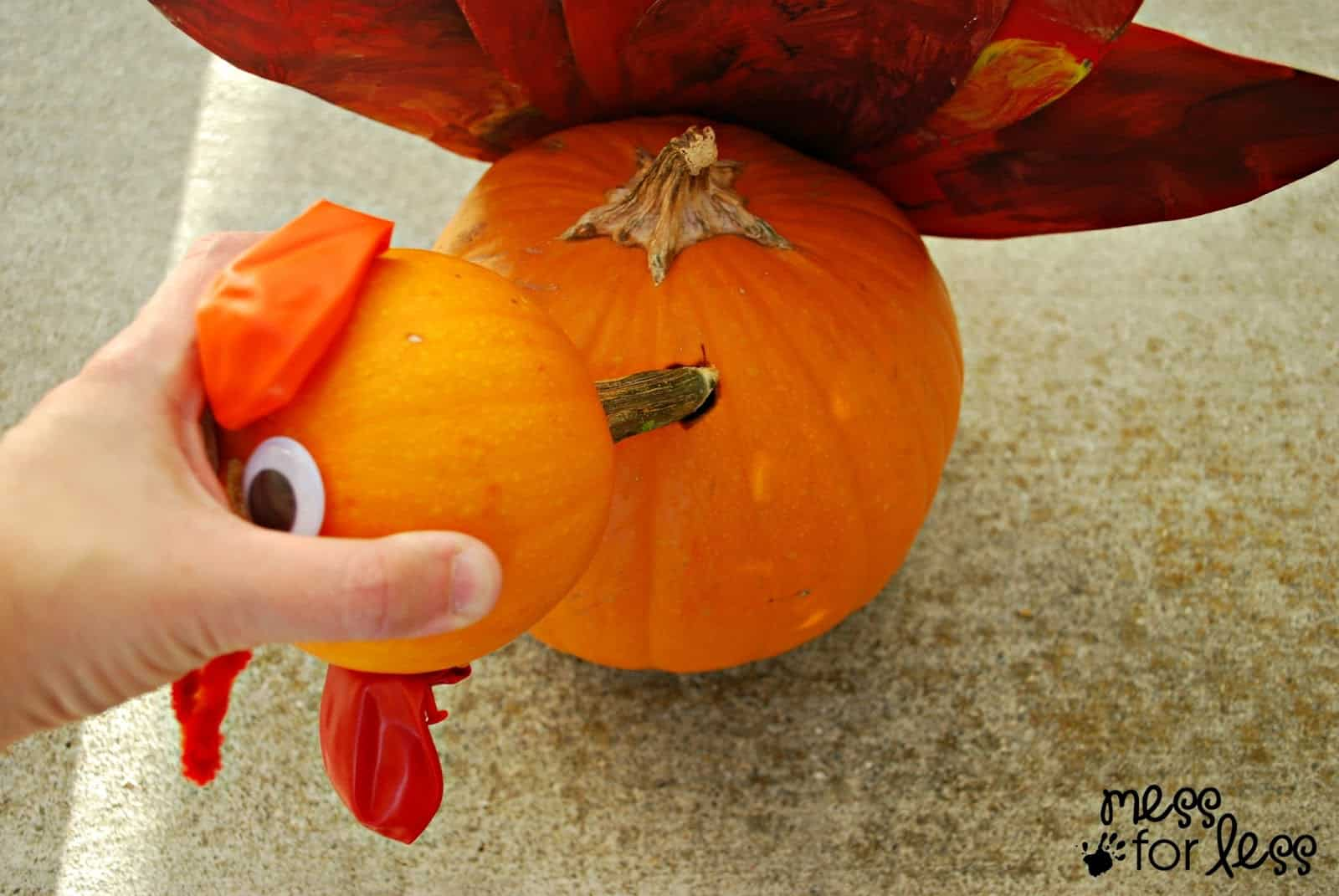 Pumpkin turkey craft mess for less for How to decorate a pumpkin for thanksgiving