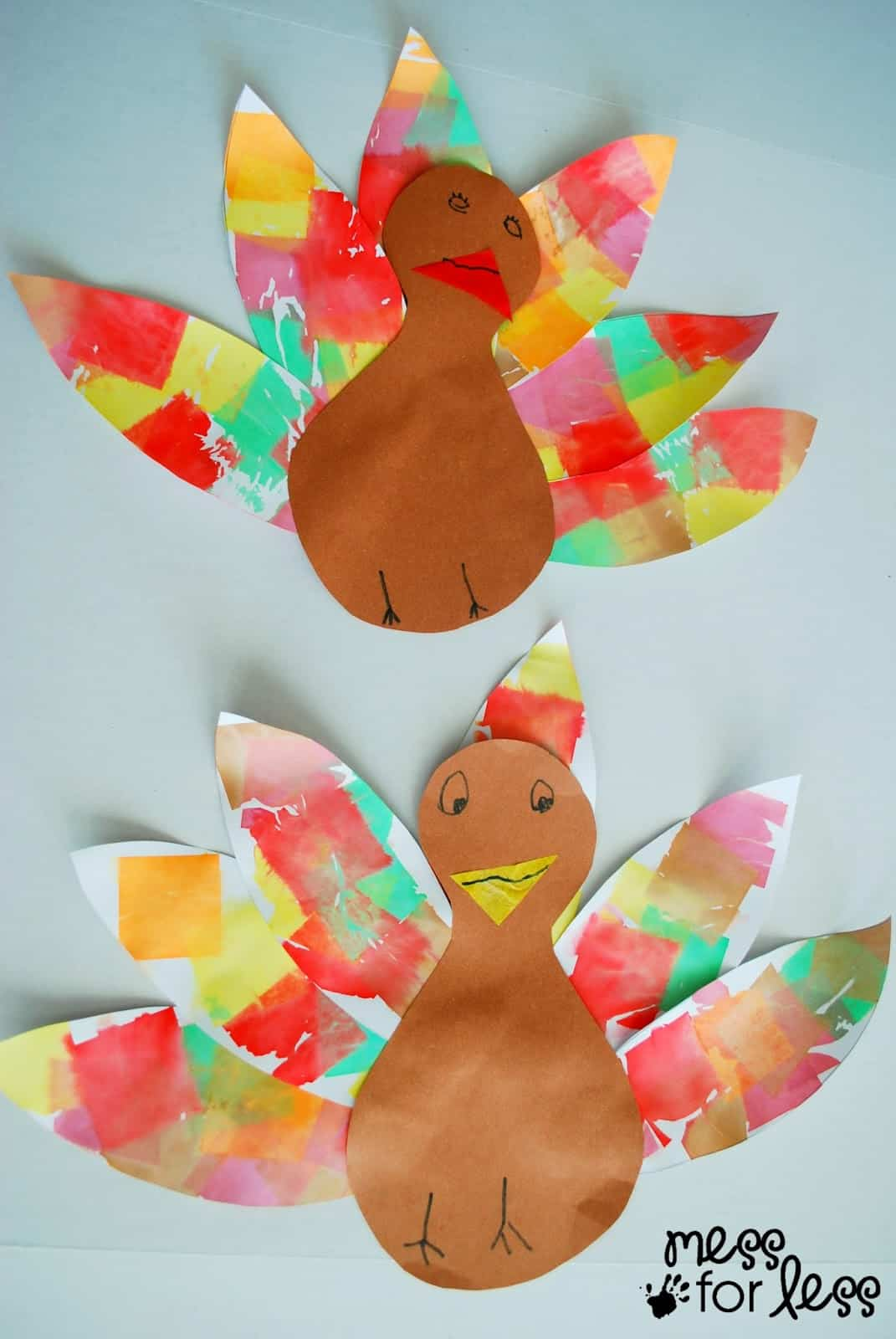 Tissue Paper Turkey Craft - Mess for Less