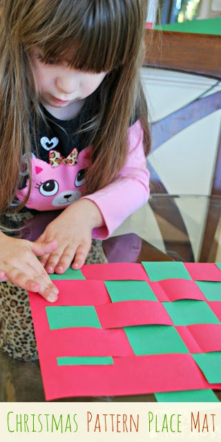 Christmas Pattern Place Mat - This place mat is fun for kids to make for the holidays and provide fine motor practice as well.