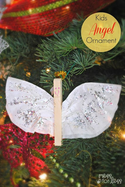 Make an adorable Angel Christmas Ornament using a clothespin and a coffee filter. So simple! This took less than 10 minutes to create.