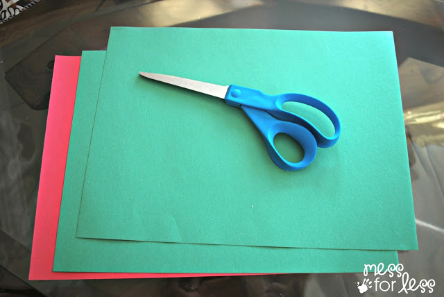 red and green construction paper